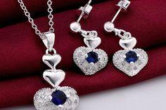 Royal Heart Austrian Crystal Blue Pendant Set With Earrings