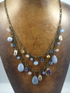 Necklace, blue stones and crystals necklace, vintage inspired blue necklace
