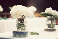 Hydrangea & carnation centerpieces