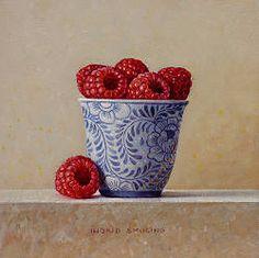 Framboosjes | stilleven schilderij in olieverf van Ingrid Smuling | Exclusieve kunst online te koop in de webshop van Galerie Wildevuur