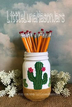 A personal favorite from my Etsy shop https://www.etsy.com/listing/466541355/cactus-party-mason-jars-cactus-themed