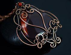 Wire wrapped mookaite necklace jasper pendant wire by OrioleStudio