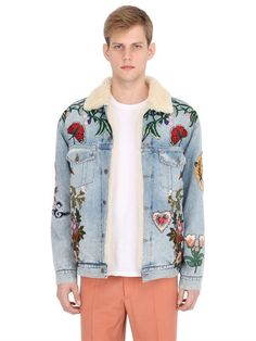 c9b9da73e91 GUCCI Patches Cotton Denim   Shearling Jacket