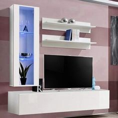 Latitude Run® Connie-Agnes TV Stand | Wayfair Living Room Storage, Living Room Furniture, Storage Spaces, Home Furniture, Living Rooms, Tv Stand Wayfair, Floating Entertainment Center, Entertainment Centers, Modern Wall Units
