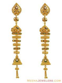Long Chandelier Earrings | Long Chandelier Earrings (22K) ( Long Earrings )