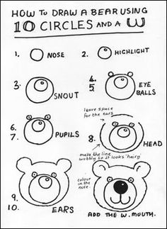 Come disegnare un cerchi e 2 UU.How to Draw Bear Fun -- Molly can probably do something like this freehand, but it made me think of her! Doodle Drawings, Cartoon Drawings, Animal Drawings, Easy Drawings, Bear Drawing, Drawing For Kids, Art For Kids, Drawing Lessons, Art Lessons