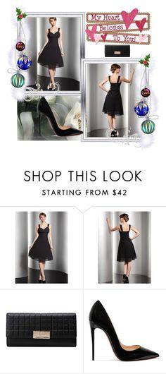"""Black A Line Sweetheart Knee Length Princess Chiffon Homecoming Dress Ruffle HD000270"" by harrydress on Polyvore featuring Christian Louboutin"