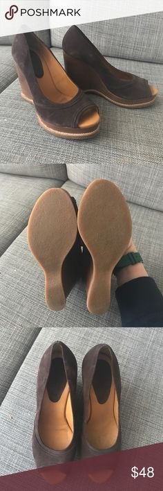 """Michael Kors Wedges Brown suede stacked wedges. Great condition. 4"""" wedge KORS Michael Kors Shoes Wedges"""