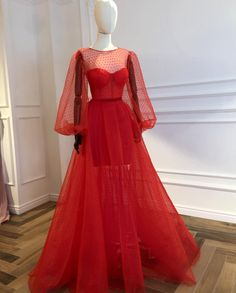 Details - Scarlet color - Tulle fabric - Velvet red belt - Ball-gown with long sleeves - Party dress Prom night dress Evening dress Prom Night Dress, Prom Dresses Long With Sleeves, A Line Prom Dresses, Cheap Dresses, Dress Prom, Party Dress, Dress Long, Formal Dresses, Wedding Dresses