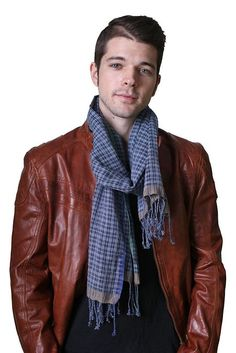 Men's Tokyo Checkered Selvedge Tricolor Natural Rugged Cotton Scarf (Blue): Amazon.co.uk: Clothing