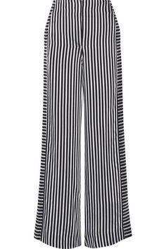 Elizabeth and James - Jones Striped Satin And Crepe Wide-leg Pants - Midnight blue - US
