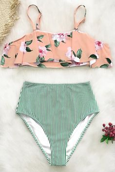2da541e559 Pink Floral And Green Striped Falbala Bikini - Cupshe - Soak up the sun in  style with our Pink Floral And Green Striped Falbala Bikini.