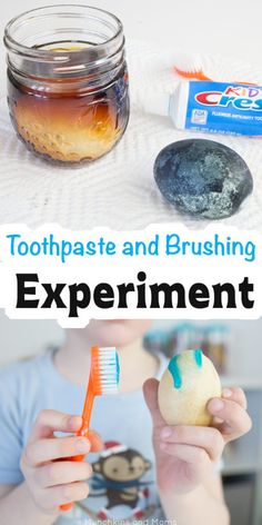 Teach kids about oral health with this toothpaste and brushing experiment! Perfect for National Children's Dental Health Month and preschool community helpers (dentist) themes! #AD