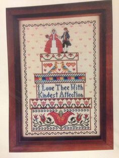 Bride's Boxes Colonial Cross Stitch Pattern w Tulip by Needle's Notion Folk Art #NeedlesNotion