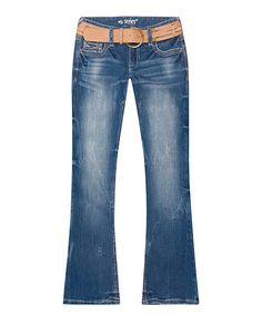 Love this Madison Line-Art Pocket Belted Bootcut Jeans - Plus on #zulily! #zulilyfinds