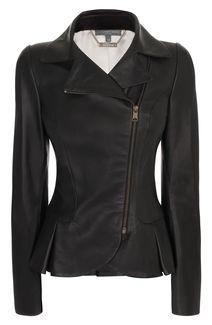 Alexander McQueen | Matt Leather Mini-Bustle Jacket