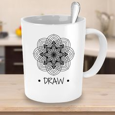 Custom Draw Mandala Coffee Mug Original Artwork by The Crafty Mummy Personalise this Mug with word of your choice (Draw Mandala 5)