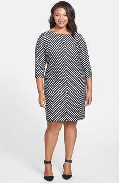 Plus Size Mitered Stripe Sheath Dress #Plus #Size