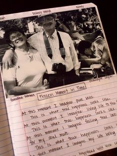 """have students pick out a picture special to them...then have them write about being """"frozen in that moment."""" what is going on during the time that the picture was taken? Great writing idea!!"""