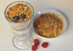 Homemade Granola-I would swap the raisons for dried cherries or other berries and the coconut for...anything else. Sounds pretty simple AND tasty!