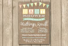 gender neutral baby shower invite, PRINTABLE, yellow invite, sex unknown, toy blocks, boho chic burlap, bunting, rustic, digital invitation by DulceGracePrintables on Etsy https://www.etsy.com/listing/176190841/gender-neutral-baby-shower-invite