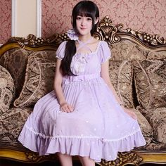 Customized Star Pattern with Bowknot and Lace Short Puff Sleeves Lolita Chiffon Dress 4 Colors