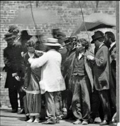 Close up detail of Alexander Gardner's photos of Herold and Atzerott being prepared for their execution for their part in Lincoln's assassination.