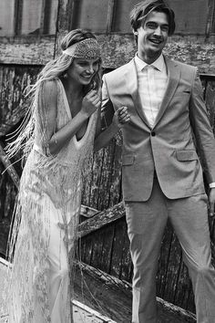 With shimmery fringe. | 36 Of The Most Effortlessly Beautiful Boho Wedding Dresses Ever