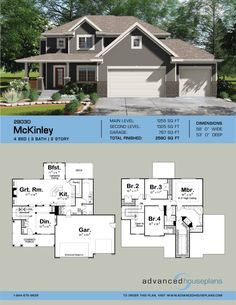 2 Story Traditional House Plan | McKinley