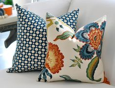18x18 Hot House Flowers pillow cover in Spark. $70.00, via Etsy.