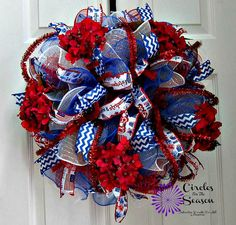 Patriotic red white and blue deco mesh by CirclesForTheSeason