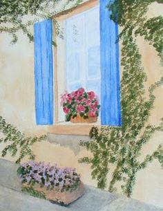 Watercolour  Une Fenetre en Asace-Lorraine