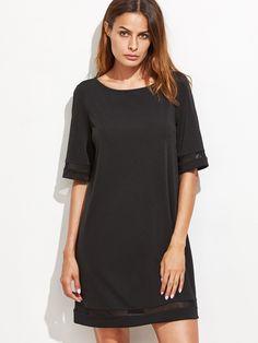 Black Mesh Panel Tunic Dress