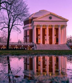 The iconic Rotunda at the University of Virginia (image credit: Holiday Lights, Christmas Lights, Reflection Pictures, Good Presentation, University Of Virginia, Winter Photos, Charlottesville, Gazebo, Outdoor Structures