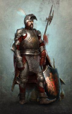 m Fighter Plate Armor Helm Shield Halberd Sword battle fog male Traveler Knight by jowardart DeviantArt lg & xlg (saved) Medieval Armor, Medieval Fantasy, Fantasy Armor, Dark Fantasy, Character Concept, Character Art, Warhammer Fantasy Roleplay, Character Portraits, Paladin