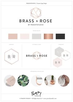 Custom Logo Design & Print Branding Package / Custom Branding Design / Business Branding Kit - Rose Gold Coper Geometric Minimal Example