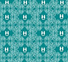 Teal n White Abstract Seahorse Sketch by Maureen Zaharie