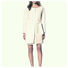 NWT Chloe Belted Ribbed Coat New belted ribbed coat by Chloe in white color. Front seaming detail with 2 seam pockets, back pleating detail, hidden partial zipper closure, removable self tie belt, fully lined. Authentic item. Made in French. Chloe Jackets & Coats