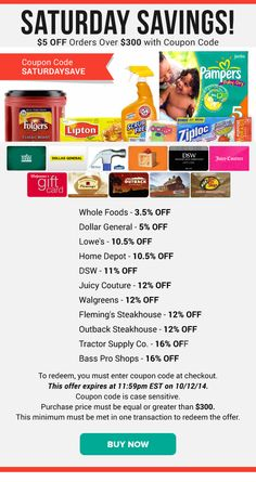 Saturday Savings: Whole Foods 3.5% OFF, Dollar General 5% OFF, Walgreens 12% OFF & More
