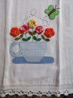 a mixed media tea towel. Applique Patterns, Applique Designs, Embroidery Designs, Crochet Patterns, Patchwork Quilting, Applique Quilts, Crochet Projects, Sewing Projects, Decorative Towels
