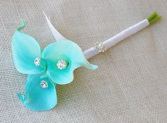 Mini Silk Flower Wedding Bouquet  Turquoise Aruba Blue.  Flower girl.  Without diamond on the stem  aqua ribbon?  Greeter, same but with all white?  Could make.  May do wrist corsage?