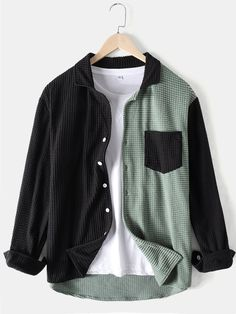 Designer ChArmkpR Mens Colorblock Patchwork Corduroy Lapel Long Sleeve Shirts With Pocket - NewChic Casual Outfits, Cute Outfits, Men Casual, Fashion Outfits, Casual Shirts, Cotton Harem Pants, Loose Shirts, Long Sleeve Shirts Men, Ethnic Fashion
