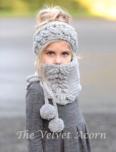 CROCHET PATTERN-Plumlyn Warmer Set Toddler Child and Adult