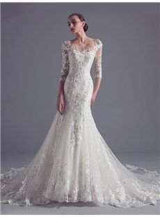 2016 新品 袖付き 丸ネックの高質レース 綺麗目ロングドレス ウェディングドレス 花嫁ドレス
