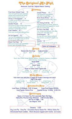 Myrtle Beach Seafood Restaurant Menu - Page One