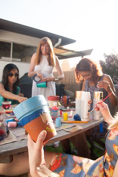 Terracotta pot painting party! Okay maybe I'm getting old but doing this with the girls surrounded by Moscato, fruit, and cheese??? = BEST PARTY EVER