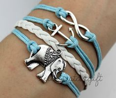 Silver elephant infinity & cute little coolSilver elephant infinity & cute little cool anchor bracelet with blue cord white leather braided bracelet fashion bracelet-Q090 by luckystargift, $4.39