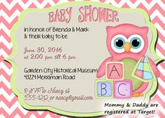 Baby shower invitationOwl baby shower pink chevron by OldOwlPress
