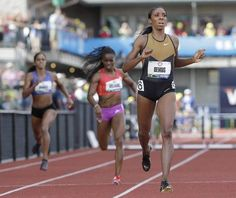 Lashinda Demus finishes first in the women's 400 meter hurdles at the U.S. Olympic Track and Field Trials Sunday, in Eugene, Ore. and will lead the US Women 400 meters hurdles team to the 2012 London Olympics.