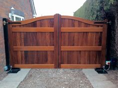 Iroko wood gates, automated with BFT underground motors. Electric gates in Hull area. Timber Gates, Wood Gates, Electric Gates, Backyard Patio, Doors, Storage, House, Gardening, Furniture